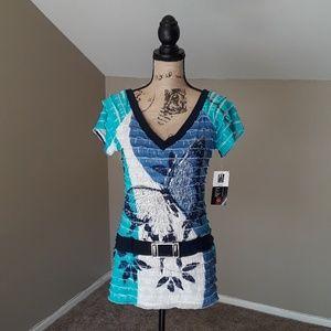 Frank Lyman Design Layered Blue Butterfly Top